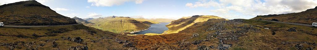 färöer inseln - auf streymoy - oberhalb kollefjord 360° panor