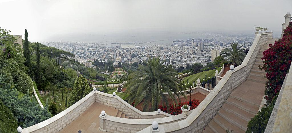 israel – haifa - die gärten der bahai von oben – teilpanora
