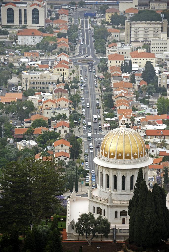 israel – haifa - der schrein des bab von oben